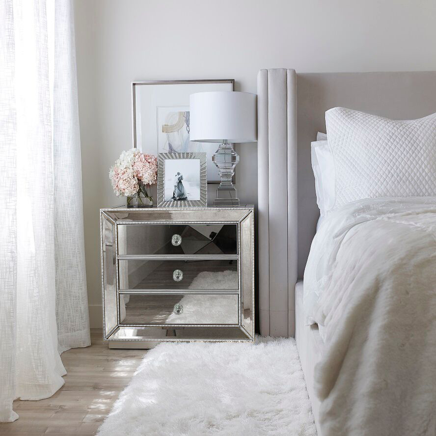 Details about 9 x SILVER Beaded Mirrored Bedside Tables Nightstand 9 Drawer  Mirror Furniture